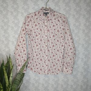 Lands' End floral no iron pinpoint Oxford size 2